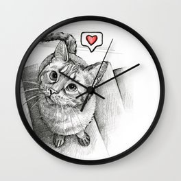 Cute Kitty Cat - Love Me Wall Clock