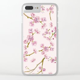 Spring Flowers - Pink Cherry Blossom Pattern Clear iPhone Case