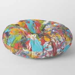 """""""The Abstract Mediterranean"""" Acrylic Painting by Noora Elkoussy Floor Pillow"""