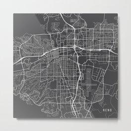 Reno Map, USA - Gray Metal Print