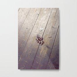 Footstep on Wood Metal Print
