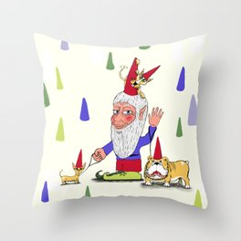 A gnome, two dogs, and a cat Throw Pillow