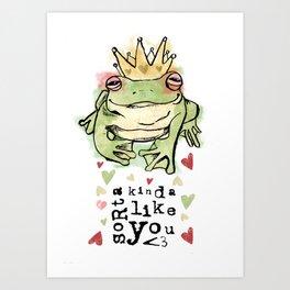 Valentines Frog Art Print
