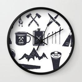 Bushcraft Icons and Hiking Symbols Wall Clock
