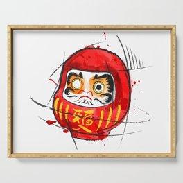 Daruma Digital Drawing, Japanese Art, Watercolor, Daruma Print Serving Tray