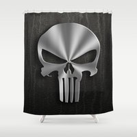 punisher Shower Curtains featuring The Punisher by Andrian Kembara