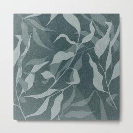 Green Leaves, Botany Print, Boho Wall Art with Faux Linen Aesthetic Metal Print