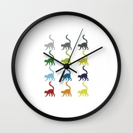 Neon Pop Art Retro Lemur Primate Gift Idea Wall Clock