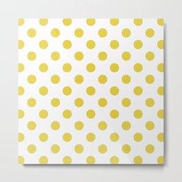 White & Yellow Polka Dots Metal Print