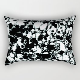 Black and White ink paint spill graphic mint green lines Rectangular Pillow