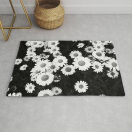 Black and white daisies Rug