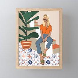 Terracotta Patchwork Framed Mini Art Print