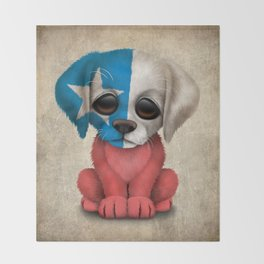 Cute Puppy Dog with flag of Chile Throw Blanket