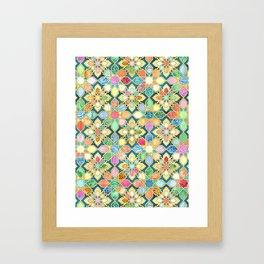 Gilded Moroccan Mosaic Tiles Framed Art Print