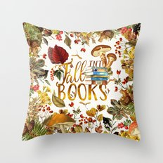 Fall Into Books Throw Pillow