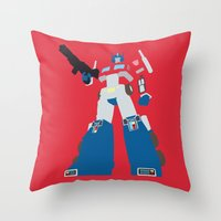 optimus prime Throw Pillows featuring Transformers G1 - Optimus Prime by TracingHorses