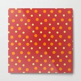 Red Yellow Orange Dots Pattern Metal Print