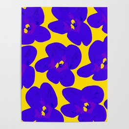 Blue Retro Flowers Yellow Background #society6 #decor #buyart Poster