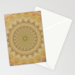 Topaz Gold Sun Marble Mandala Stationery Cards