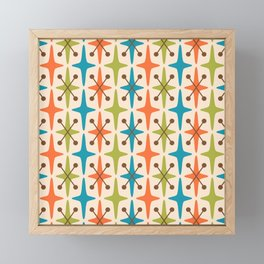 Mid Century Modern Abstract Star Pattern 441 Orange Brown Turquoise Chartreuse Framed Mini Art Print