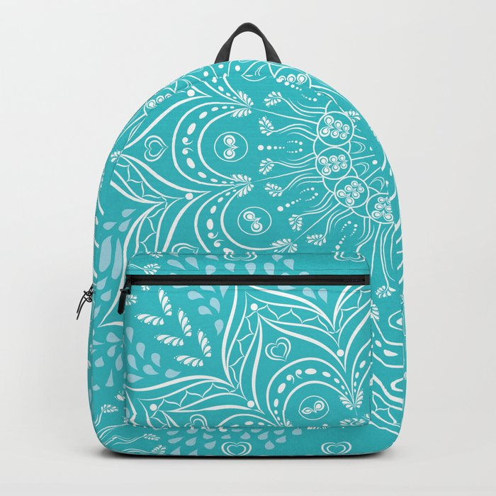 Teal Boho Mandala Backpack