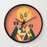 sunset Wall Clocks featuring Sunset Tipi by Picomodi