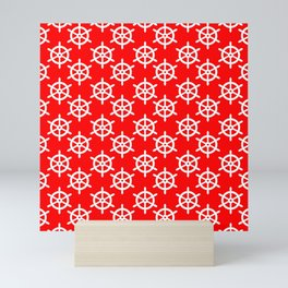Ship Wheel (White & Red Pattern) Mini Art Print