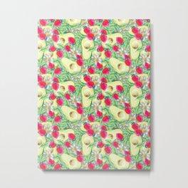 avocado and strawberry pattern Metal Print