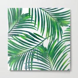 Palm Paradise, Tropical Leaves, Beachy Watercolor Painting, Minimal Nature Botanical Illustration Metal Print