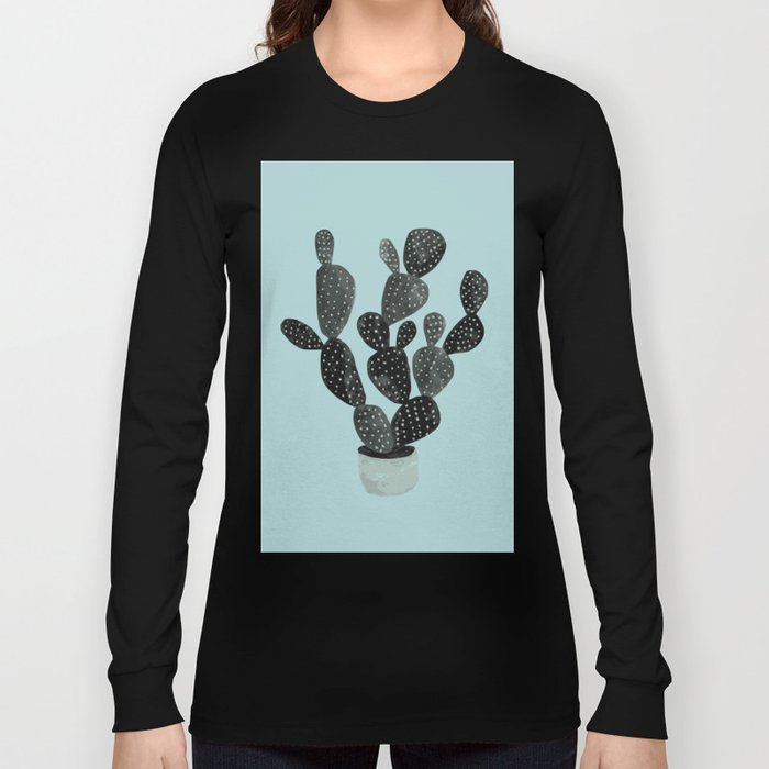 Monday blue cactus pricks Long Sleeve T-shirt