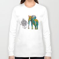 boho Long Sleeve T-shirts featuring BOHO ELEPHANT by Nizhoni Creative Studio