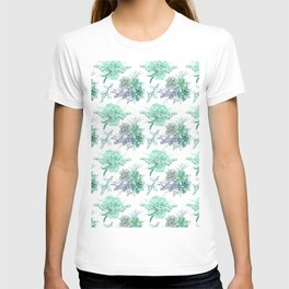 Succulents Mint Green Lavender Lilac Violet Pattern T-shirt