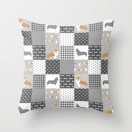 Corgi Patchwork Print - grey, dog, buffalo plaid, plaid, mens corgi dog Throw Pillow