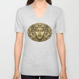"""Ancient Golden and Silver Medusa Myth"" Unisex V-Neck"