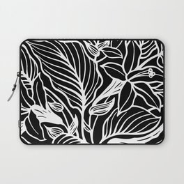 Black White Floral Minimalist Laptop Sleeve