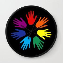Rainbow hands Wall Clock