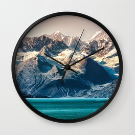 Scenic Alaskan nature landscape wilderness at sunset. Melting glacier caps. Wall Clock
