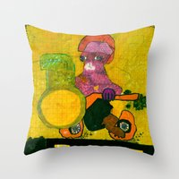 motorcycle Throw Pillows featuring Motorcycle  by Vera A. Fehér
