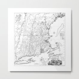 Vintage New England Map Metal Print