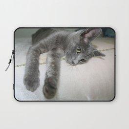 Russian Grey Cross Tabby Cat  Laptop Sleeve