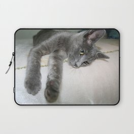 Russian Grey Cross Tabby Cat  Laptop Sleeve