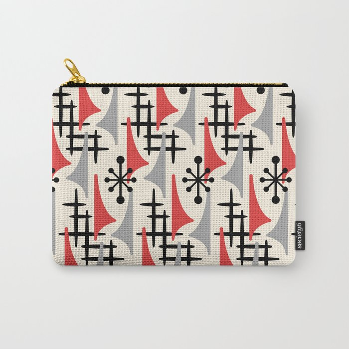 Mid Century Modern Atomic Wing Composition 234 Red and Gray Carry-All Pouch