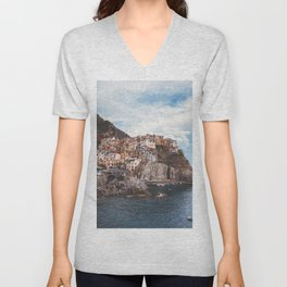 Cinque Terre, five lands, Manarola, Liguria, italian landscape, Italy love, UNESCO site, cliff village, sea villages Unisex V-Neck