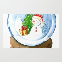 A snow globe in watercolor Rug