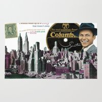 frank sinatra Area & Throw Rugs featuring Frank Sinatra - New York by Dots Studio