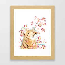 cat and cherry blossom Framed Art Print