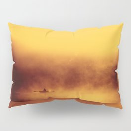 Lone fisher boat floating Pillow Sham