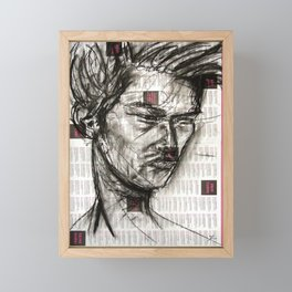 Warrior - Charcoal on Newspaper Figure Drawing Framed Mini Art Print