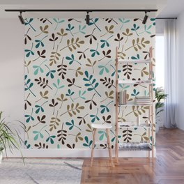 Assorted Leaf Silhouettes Teals Brown Gold Cream Ptn Wall Mural