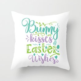 Bunny Kisses And Easter Wishes Throw Pillow